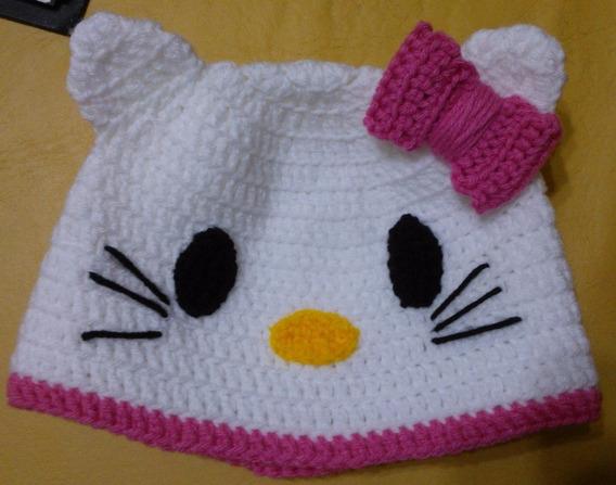 Gorro Tejido Al Crochet - Hello Kitty