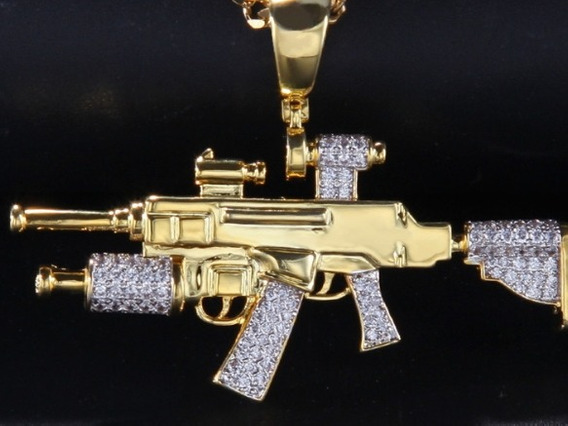 Colar Metralhadora Cor Ouro Zirconias Mini Tupac Hip Hop