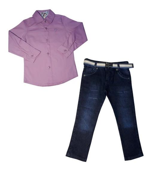 Conjunto Infantil Menino Camisa Social Jeans Festa 1/8 Anos
