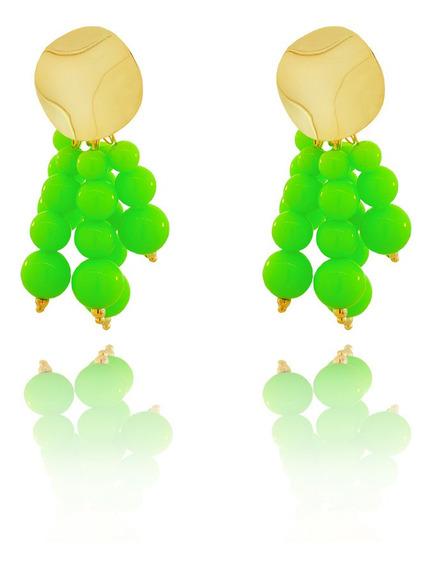 Brinco Dourado Cacho Bolinhas Resina Verde Neon