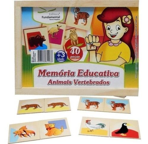 Jogo Da Memória Educativa Mdf Animais Vertebrados
