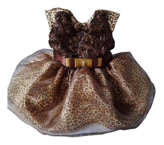 Vestido Festa Rn Mesversário Infantil Oncinha Pedrita Bebe