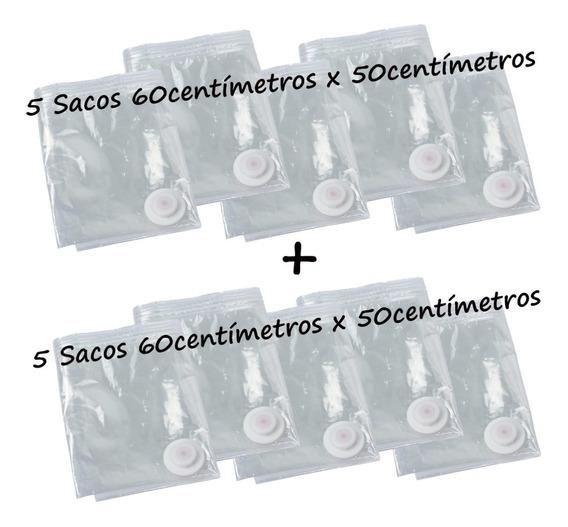 Saco À Vacuo Kit 10 Sacos 50x60cm 5+5 = Super Promoção