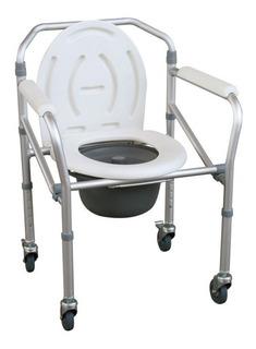 Silla De Ruedas Sanitaria Baño Pato Aluminio Plegable Fs-696