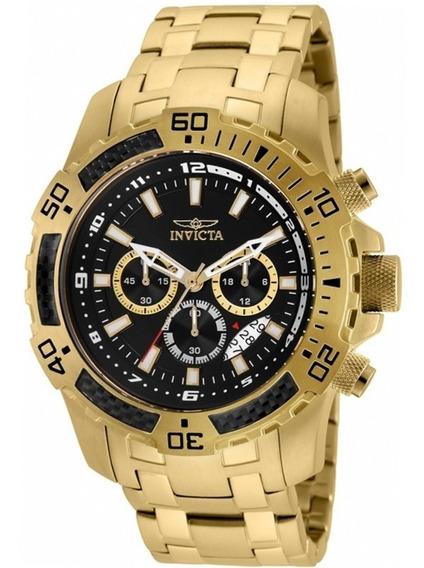 Relógio Masculino Invicta 24855 Pro Diver Ouro 18k Original