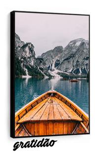 Quadro Decorativo Paisagem Barco Montanhas Com Moldura Sala