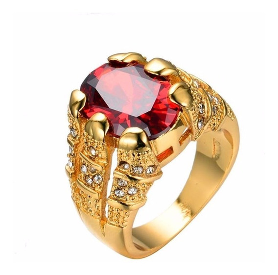 Anel Masculino Banhado A Ouro 18k Com Pedra Vermelha De Rubi