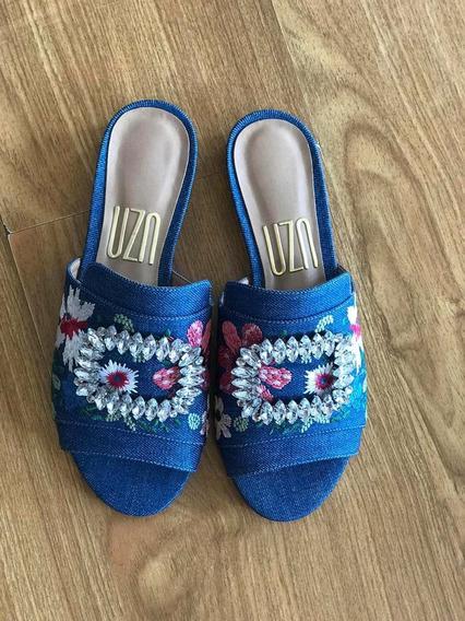 Rasteira Jeans Bordada Uza Shoes