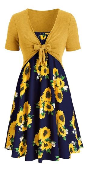 Kit De Vestido Casual Impreso De Tamaño Extra Para Dama L-5