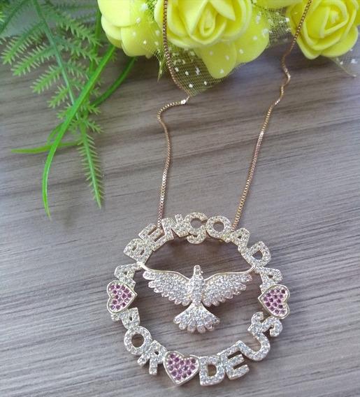 Colar Feminino Semijoia Banhado Rose Gold 18k Com Garantia
