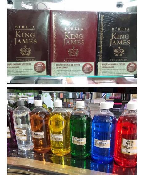 Bíblia King James + Óleo De Unção Kit C/ 3 Bíblias E 5 Óleos
