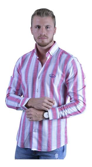 Camisa Porto Blanco Rayas Terracota Algodon