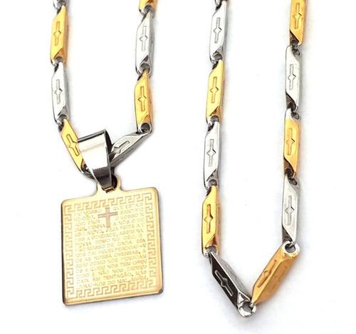 Pingente Placa Pai Nosso+ Cordão Espelhado Aço Prata Dourado