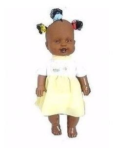 Boneca Negra Bebe Chuquinha 35 Cm Covinha Frete Gratis