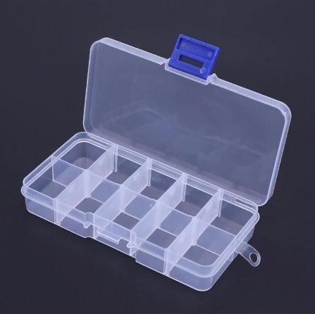 10 Unidades Box Caixa Plástica Organizadora 10 Divisórias