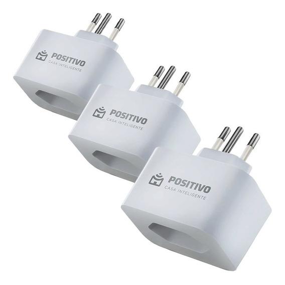 3 Tomadas Smart Plug Wi-fi Positivo Casa Inteligente Branco