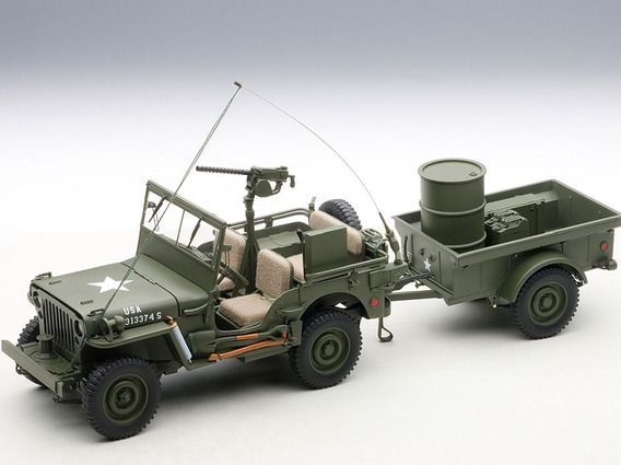 Autoart 1/18 Jeep Willys Con Trailer & Accesorios (army)