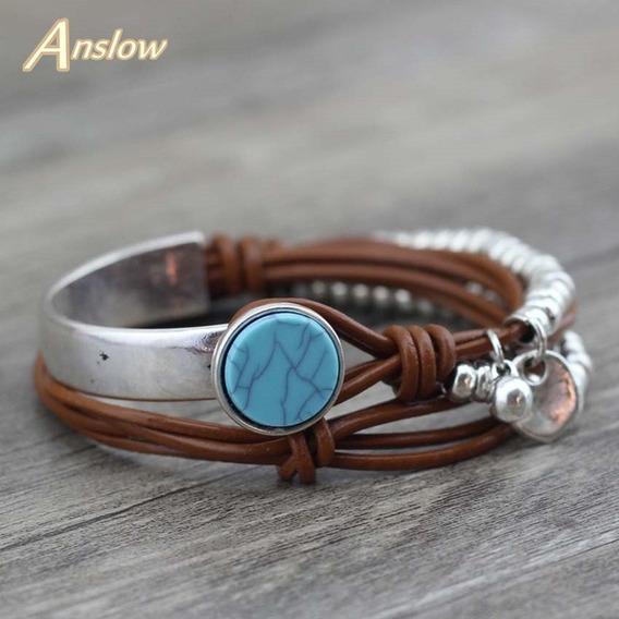 Bracelete Com Pedra Azul E Folheado A Prata Couro