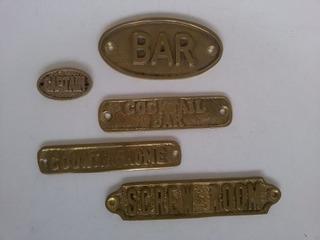 Placas Decorativas Bar Latão Polido-bronze Ponta De Estoque