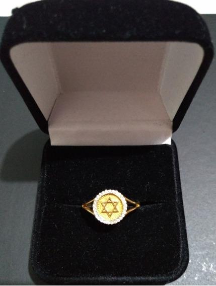 Anel Estrela De Davi Com Diamantes Com Brilhantes Ouro18k750