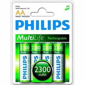 Pilha Recarregavel Philips 4x Aa Reais 2300 Mha Original