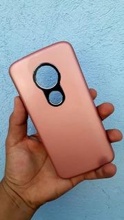 Funda Doble Uso Rudo Rosa Liso Moto E5 G6 Play