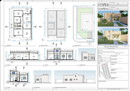 Projeto Arquitetônico Residencial 110m² - Terreno 12x25m