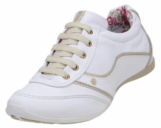 Tênis Sapatênis Feminino Branco Em 100% Couro Confortável