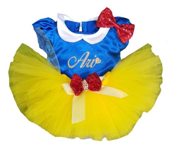 Disfraz De Niña Blanca Nieves Tutú Personalizado T 1 A 3