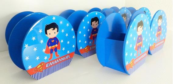6 Bases Centro De Mesa Ch Superman Personalizados