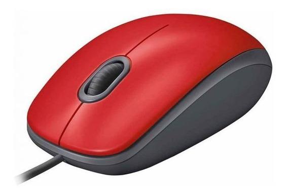 Mouse Com Fio Silencioso M110 Logitech - Vermelho