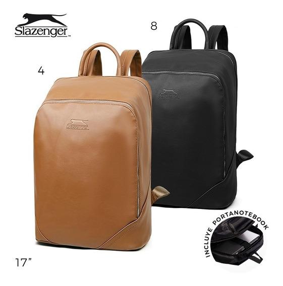 Mochila Hombre Porta Notebook Slazenger Original Cuero Pu
