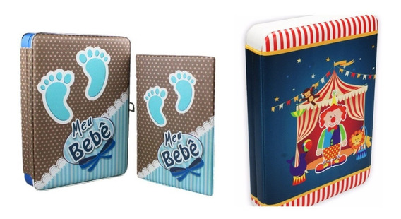 2 Álbum Meu Bebê C/ Estojo- 15x21 - 100 Fotos + Diário