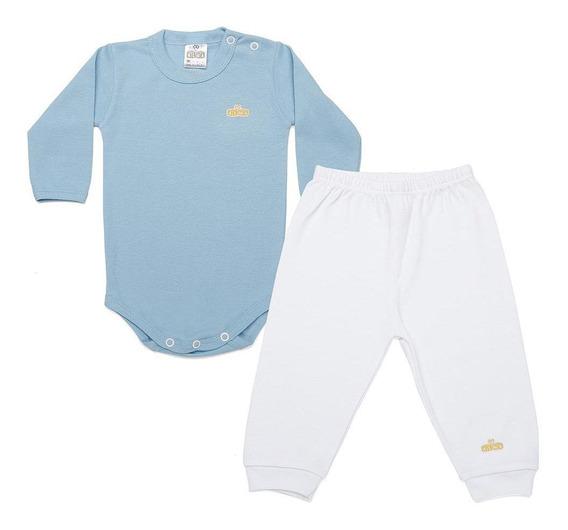 Kit Body Infantil Bebê Algodão Manga Longa E Calça Culotte