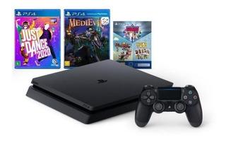 Sony PlayStation 4 Slim 1TB Mega Pack: Just Dance 2020/MediEvil/Knowledge is Power/Frantics/That