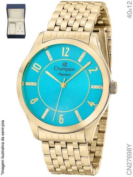 Kit Relógio Feminino Champion Elegance Cn27698y Com Brinde