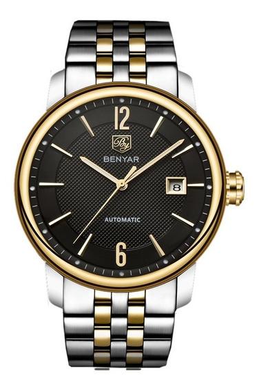 Relógio Benyar 5144 Prata E Dourado Luxo Original Automático