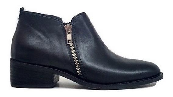 Zapato Mujer Botineta Natacha Cuero Negro Con Cierres #2020