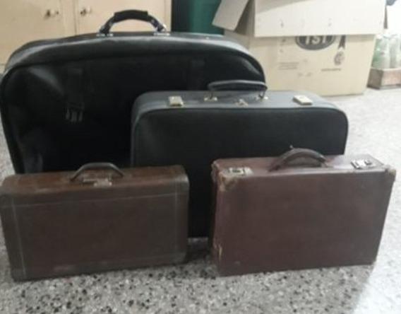 Valijas Vintage Antiguas 60 Años Cuero Y Chapa X 4 Un.