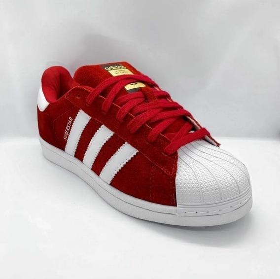 Tênis adidas Super Star Camurça Vermelho Original