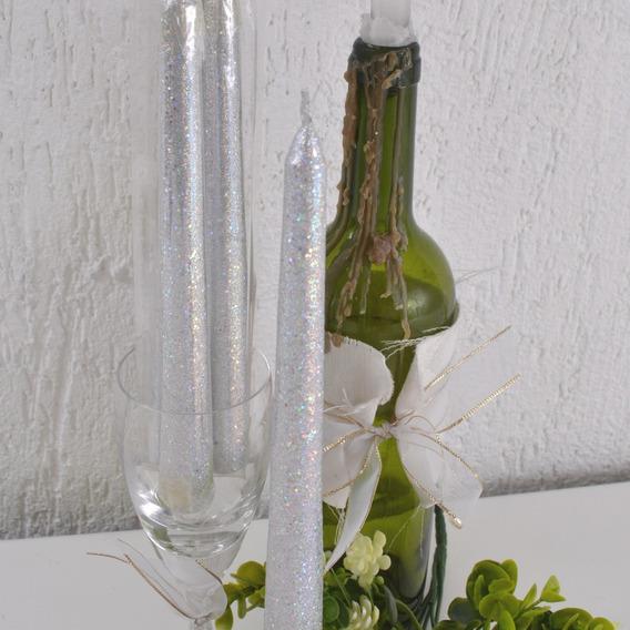 Jogo 2 Velas Cônicas Glitter Prata 2,3x20cm Decoração Festas