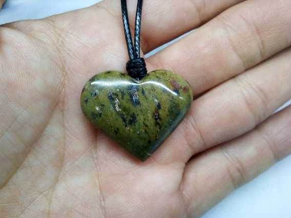 Corazón Piedra Jade Verde Dije Collar Tejido Vintage Reiki