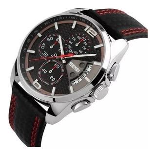 Reloj Hombre Skmei 9106 Analogico Cronometro Fecha Cuero Moderno Calendario
