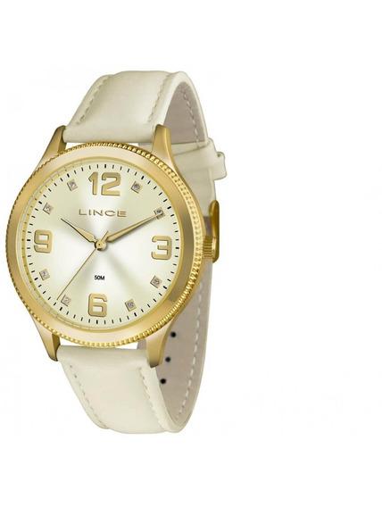 Relógio Lince Couro Branco Feminino Lrc4396l C2bx