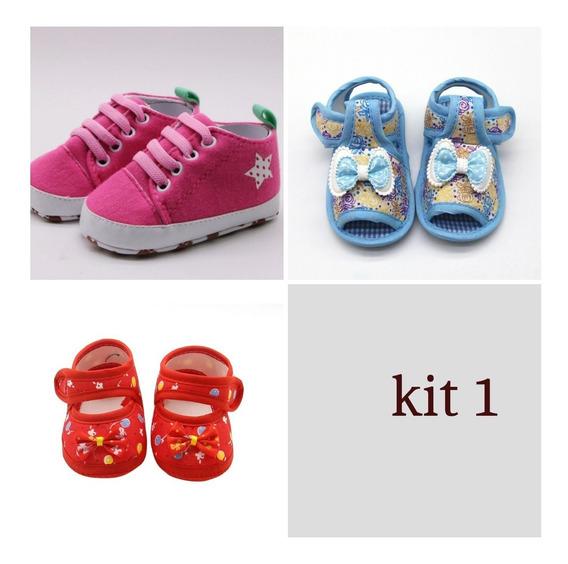 Sapatinho Tênis Bebê Menina Kit 3 Unidades