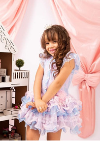 Vestido Azul/rosa Infantil Princesa Luxo Menina