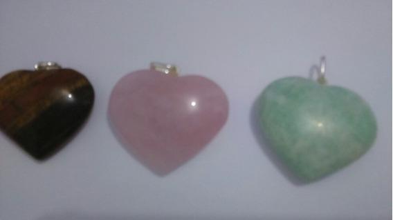 3 Pingentes De Coração De Pedra Natural Com Pino Prata 950