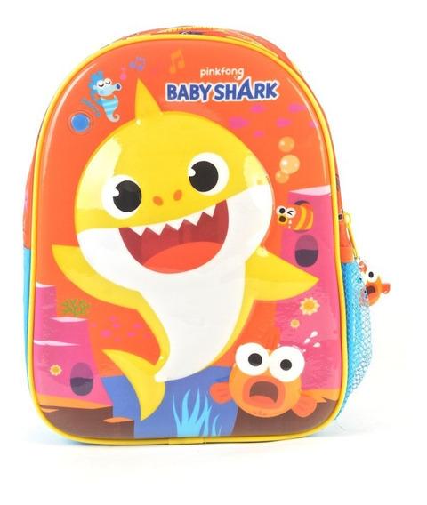 Mochila Espalda Jardin 11p Baby Shark Con Musica Wabro Mania