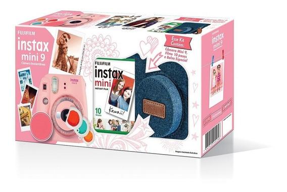 Kit Câmera Instax Mini 9 Rosa Chiclete