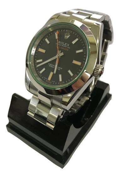 Reloj Rolex Milgauss Automático Cara Negra Cristal De Zafiro